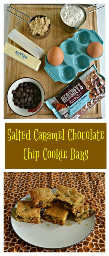It's easy to make these delicious Salted Caramel Chocolate Chip Cookie Bars!