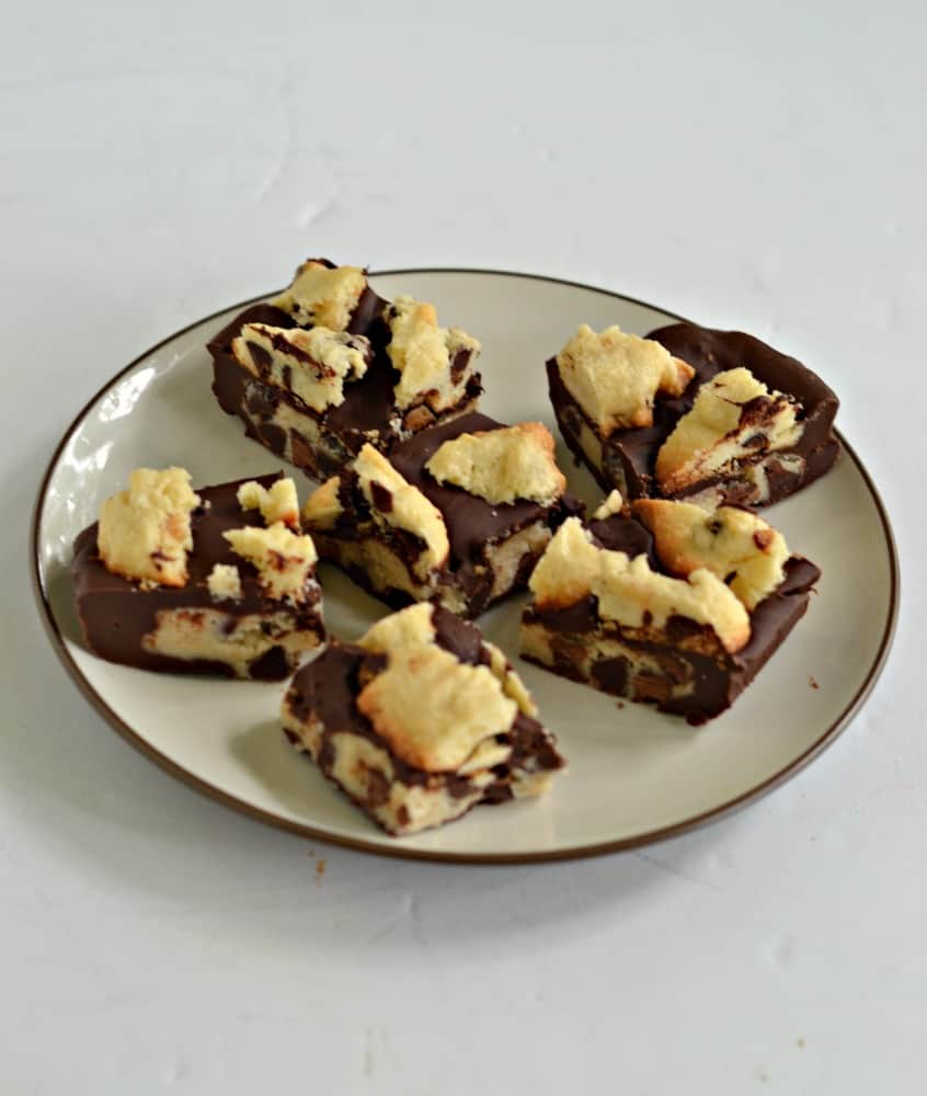 If you like cookie dough you'll love these Chocolate Chip Cookie Dough Stuffed Candy Bars!