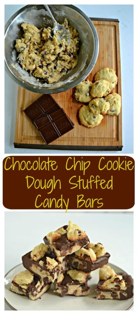 Kids and adults alike will love these awesome Chocolate Chip Cookie Dough Stuffed Candy Bars!