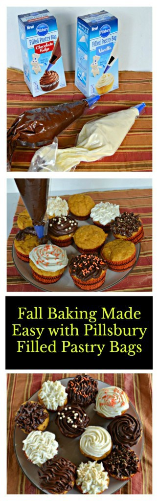 Fall Baking Made Easy with Pillsbury Filled Pastry Bags and delicious Pumpki Spice Cupcakes!