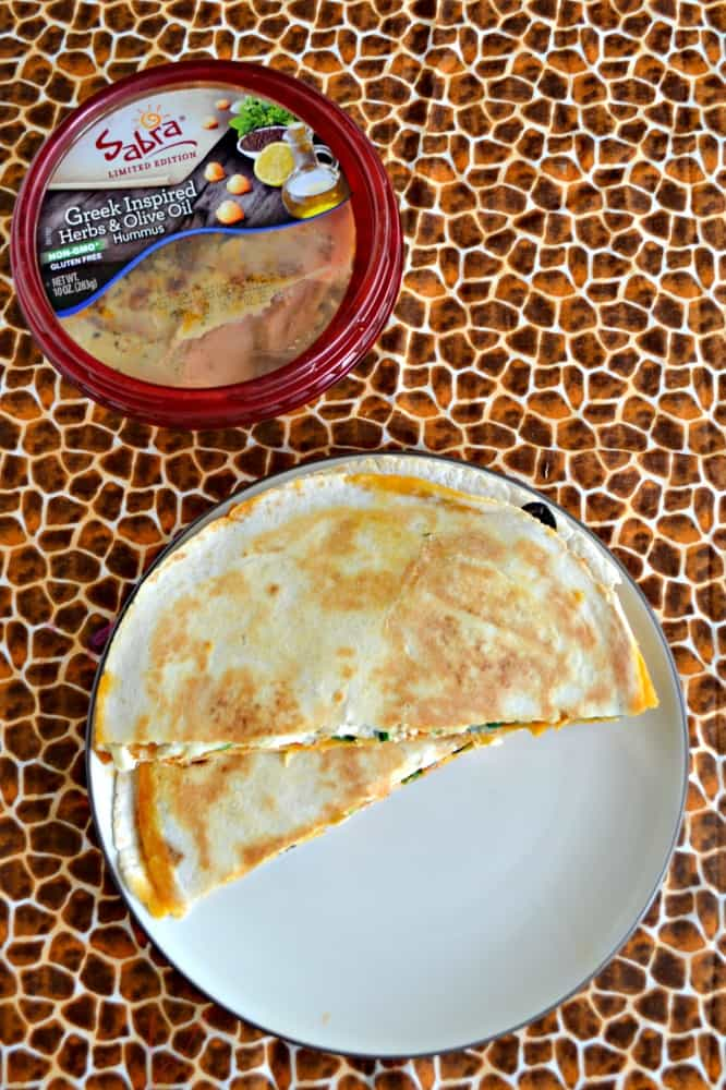 Love these delicious Greek Quesadillas using Sabra hummus!