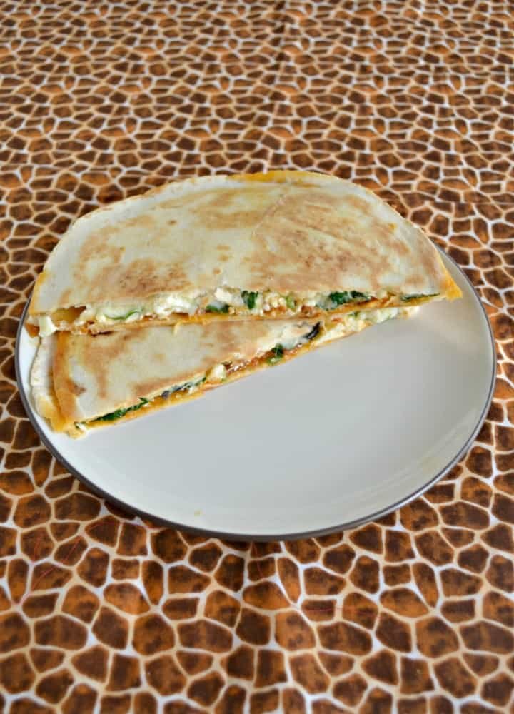 Take a bite out of these Greek Quesadillas with Sabra Hummus!