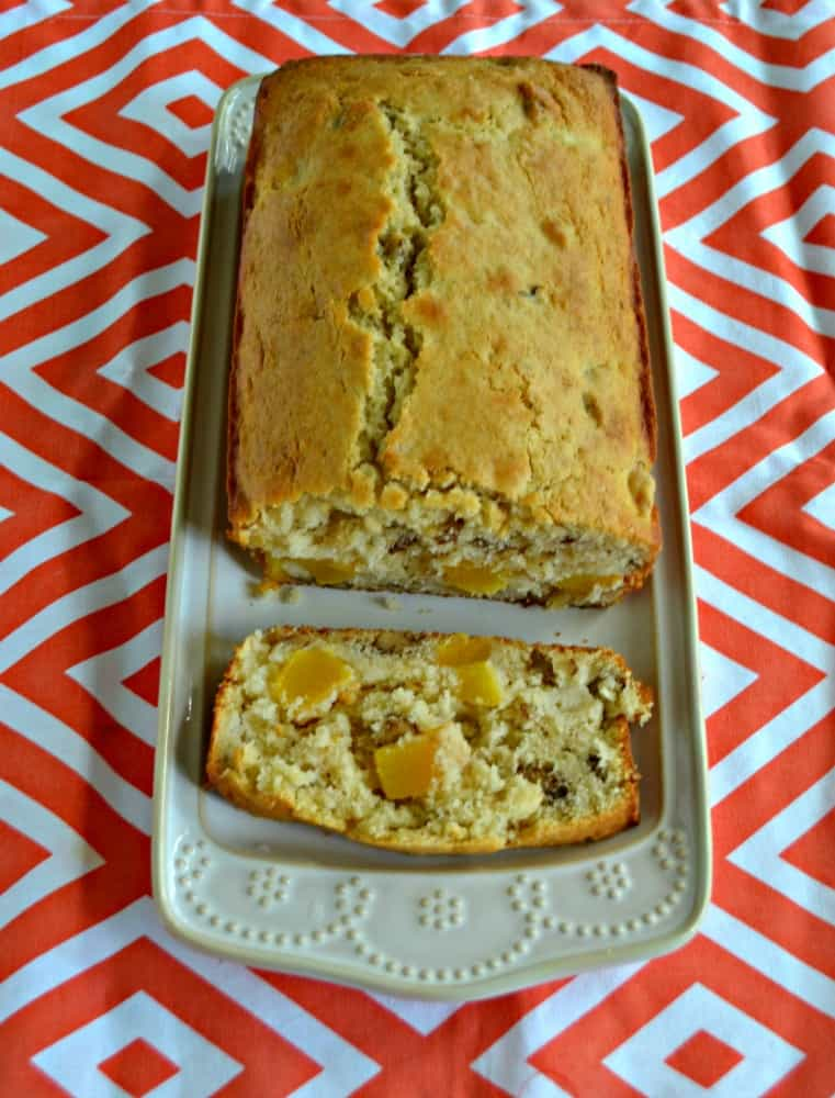 Slice off a piece of Peach Walnut Quick Bread for breakfast!