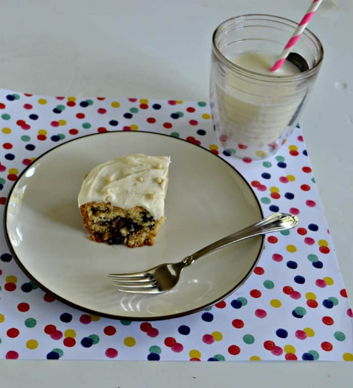 Chocolate Chip Killer Snack Cake topped with frosting is an after school favorite!