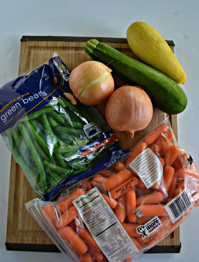 Everything you need to make Vegetable Soup with meatballs
