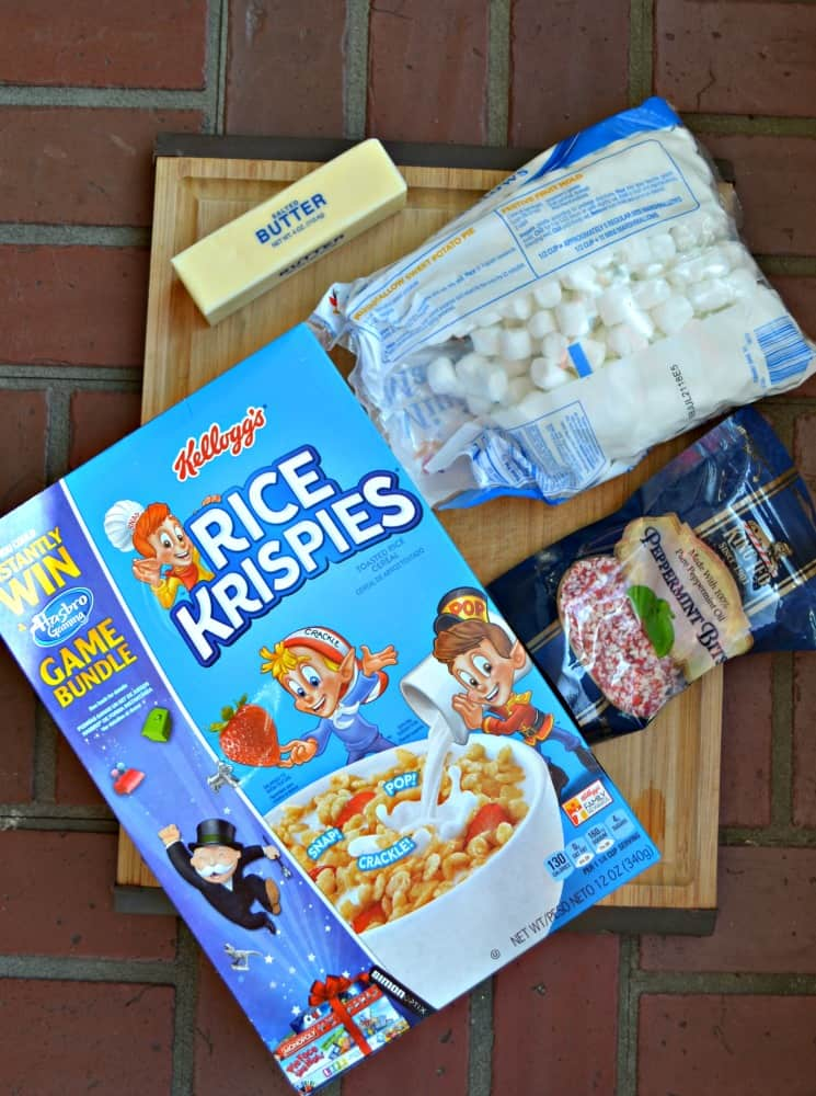 Everything you need to make Candy Cane Rice Krispies Treats
