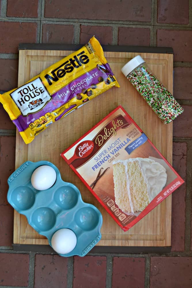 There are only a few ingredients in these Cake Mix Christmas Cookies