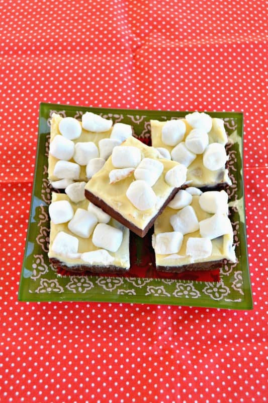 Hot Cocoa Fudge recipe is topped with marshmallows!