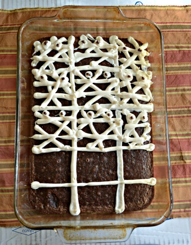 Grab some brownies and some frosting and make these Mummy Brownies!