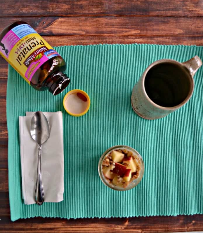 Staying healthy after having a baby is as easy as a healthy breakfast of overnight oats, Nature Made Prenatal Vitamins, and a cup of coffee!