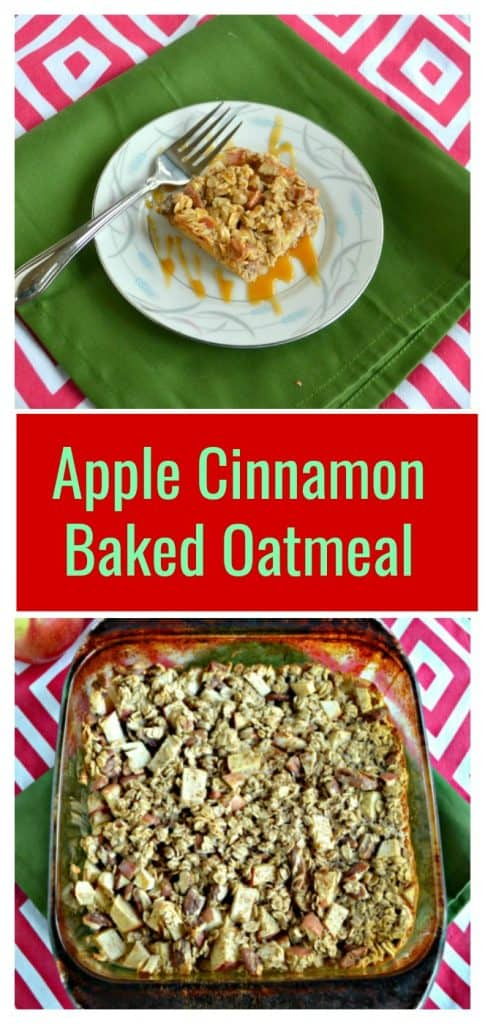 A white plate topped with an oatmeal square that is brown with apple pieces and has a caramel drizzle on top sitting on a green napkin on a red and white background, text overlay, a baking dish with baked oatmeal in it with large apple pieces showing on a red and white background.