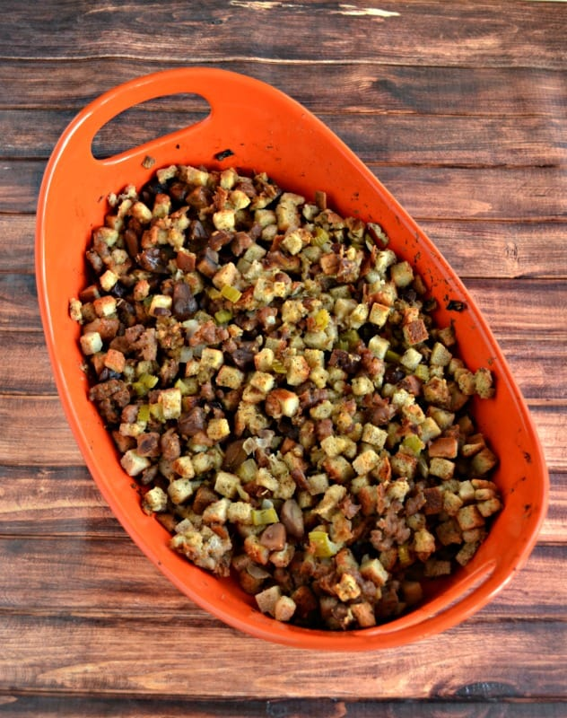 Grab a fork and dig into this Stuffing with Chestnuts and Sauage