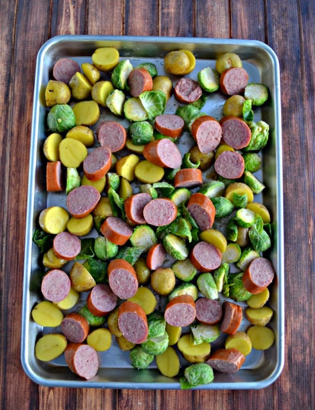 Sheet Pan Supper with Kielbasa, Potatoes, and Brussel Sprouts