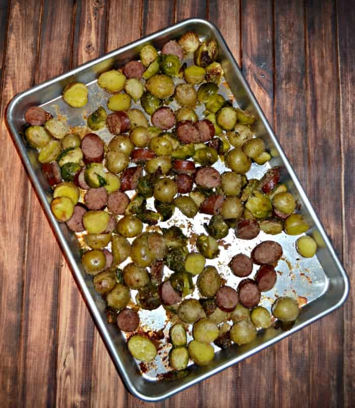 Sheet Pan Supper with Kielbasa, Potatoes, and Brussel Sprouts takes just minutes to prep!