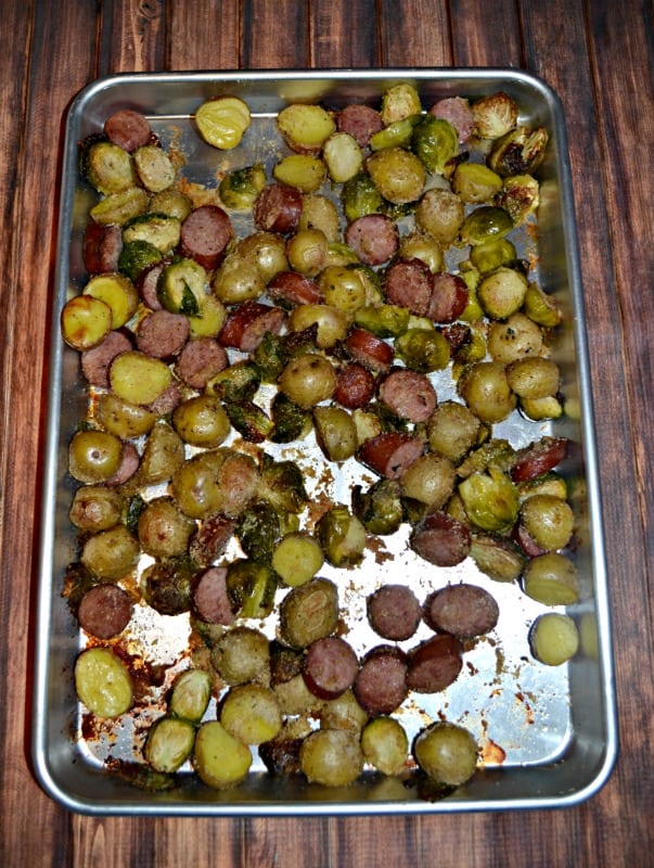 Sheet Pan Supper with Kielbasa, Potatoes, and Brussel Sprouts is an easy to make meal