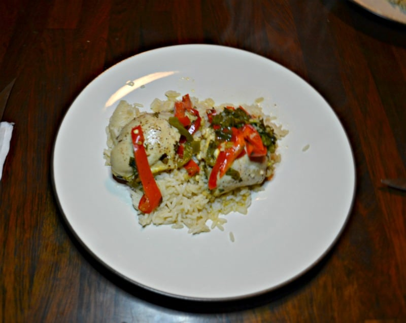 Serve Instant Pot Chicken Thighs ans Peppers over rice!