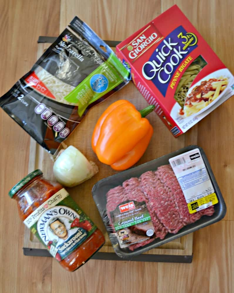 Everything you need to make Baked Ziti with Meat Sauce!