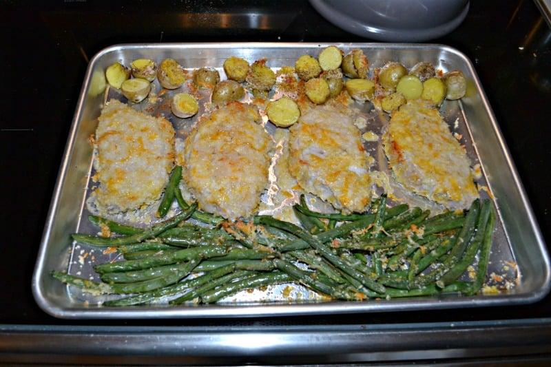 Kids will love this tasty Sheet Pan Parmesan Pork Chops with Potatoes and Green Beans