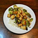 Crispy Tofu and Roasted Brussels Sprouts with Honey Sesame Glaze