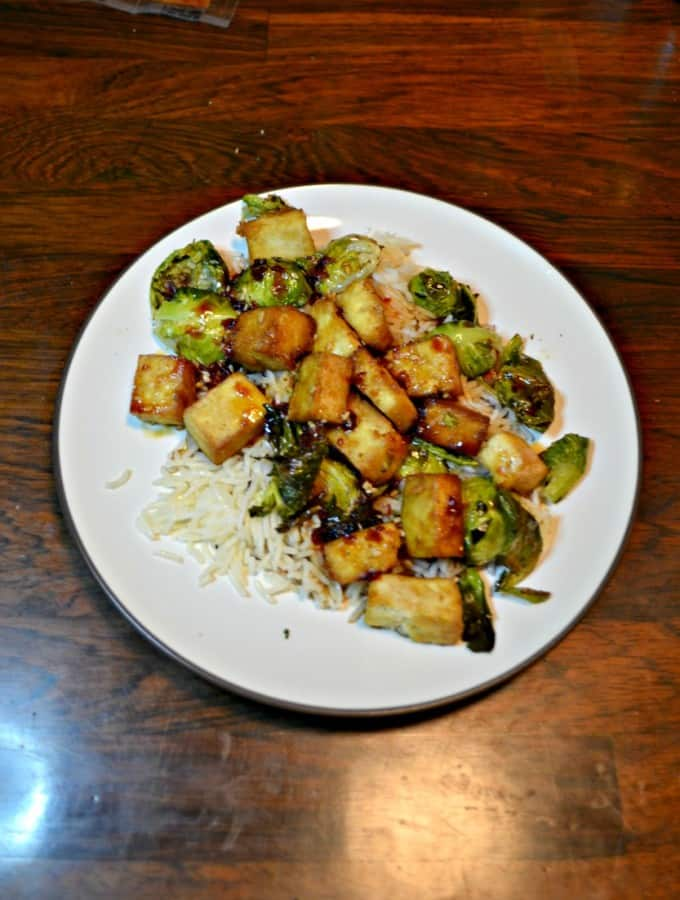 Try this delicious Tofu and Roasted Brussels Sprouts with a Honey Sesame Glaze