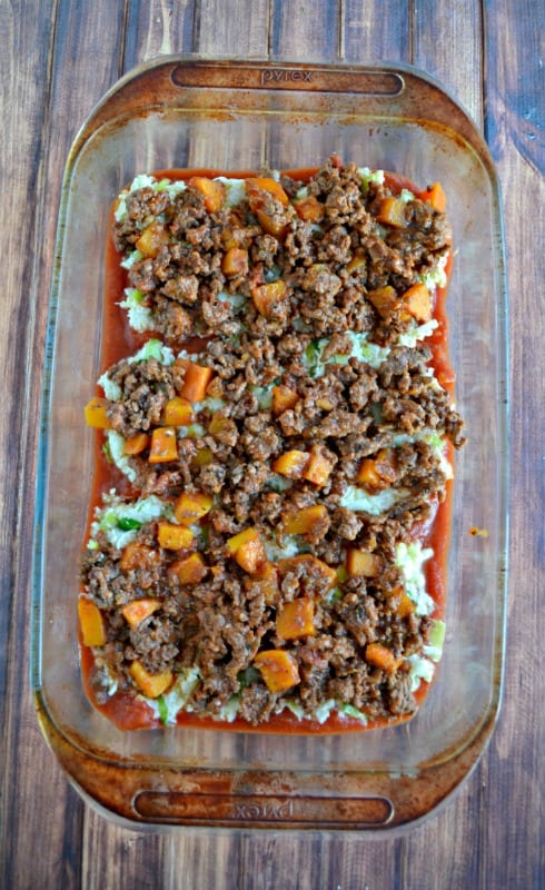 Lasagna layered with Certified Angus Beef brand ground beef, butternut squash, leeks, and Brussels Sprouts