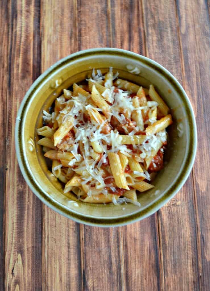 Penne with Bacon, Onion, and Balsamic Vinegar is an easy skillet meal.