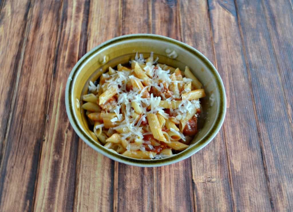Penne with Bacon, Onion, and Balsamic Vinegar is an easy weeknight meal.