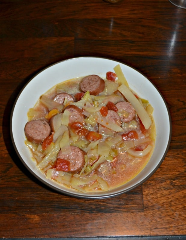 Grab a spoon and warm up with this delicious Instant Pot Cabbage and Sausage Soup