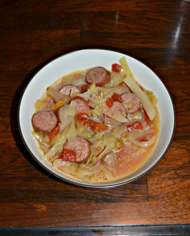 Looking for a quick and filling dinner? Try this Instant Pot Cabbage and Sausage Soup!