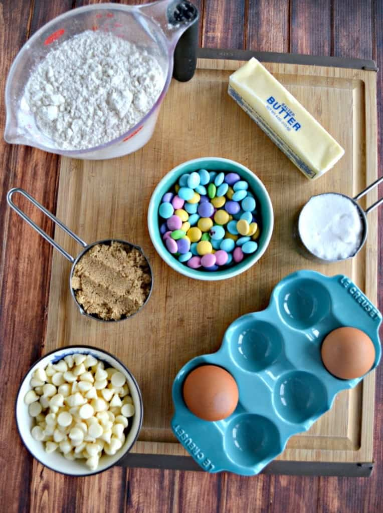 Everything you need to make Easter M&M Blondies