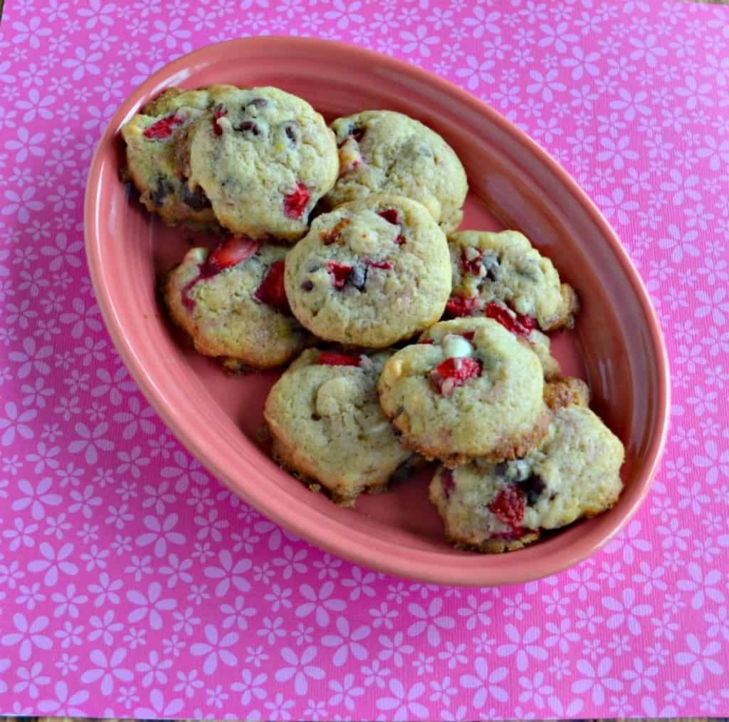 Enjoy these tasty Fresh Strawberry and Chocolate Chip Cookies for dessert.