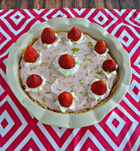 No Bake Strawberry Lime Mousse Pie #SundaySupper