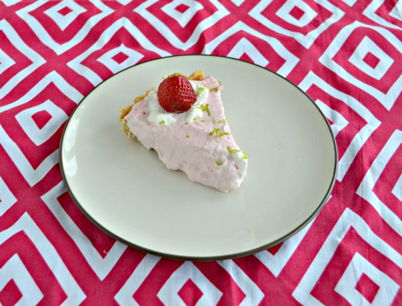 Grab a fork and dig into this No Bake Strawberry Lime Mousse Pie!
