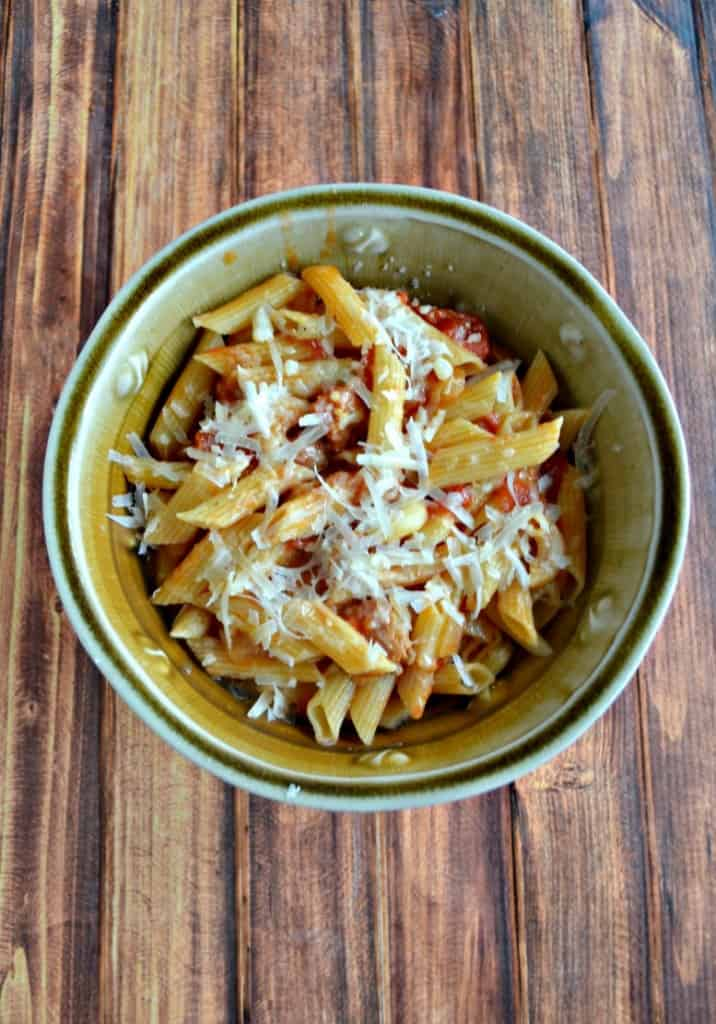 Looking for an easy skillet meal? Try this Penne with Bacon, Onion, and Balsamic Vinegar.