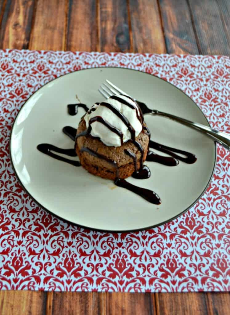 Looking for the perfect dessert for 2? Make these Molten Chocolate Lava Cakes for 2 topped with ice cream and chocolate sauce!