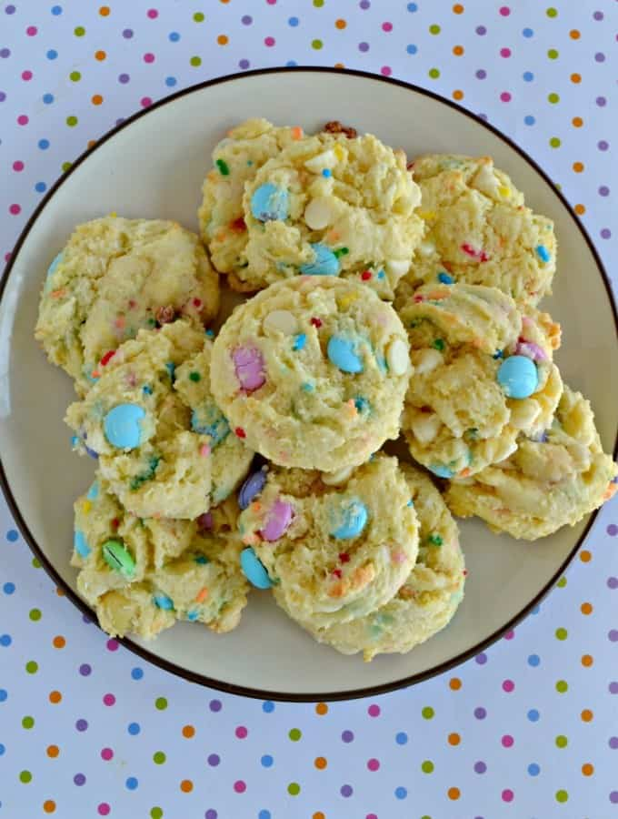 Bite in to a soft and chewy Funfetti Cake Mix Cookie for Easter!