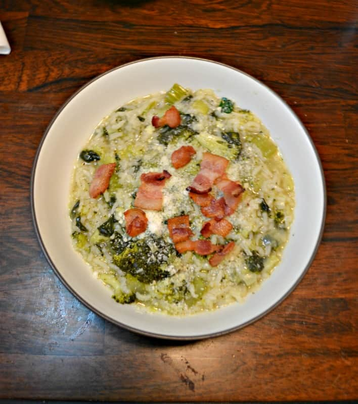 Kids and adults will love this Instant Pot Broccoli, Bacon, and Rice Soup!