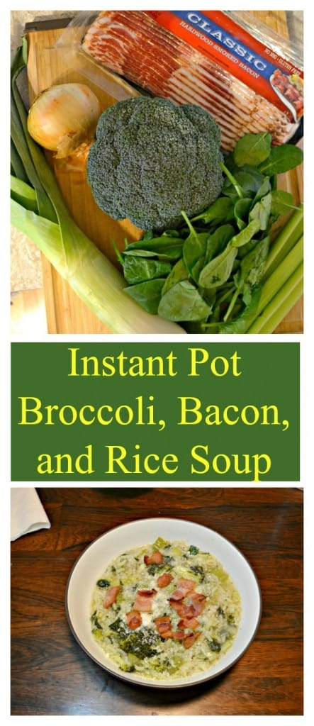 Everything you need to make Instant Pot Broccoli, Bacon, and Rice Soup!