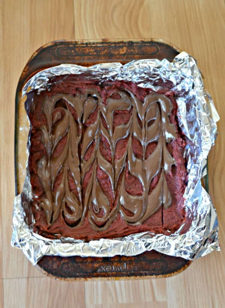 Put a chocolate swirl on top of these Red Velvet Brownies