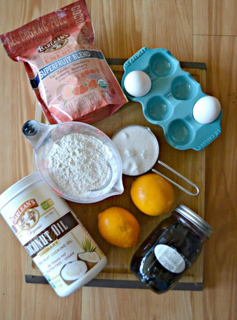 Everything you need to make Meyer Lemon and Blueberry Muffins!