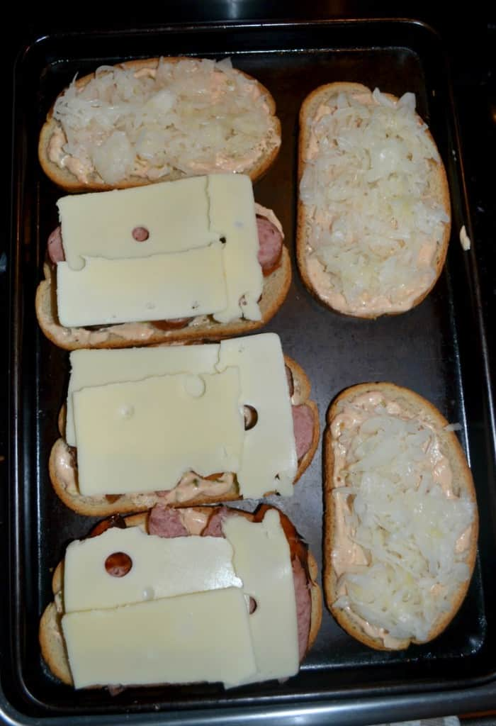 Like sandwiches? Check out these Polish Reubens with kielbasa, swiss cheese, sauerkraft, and thousand island dressing.