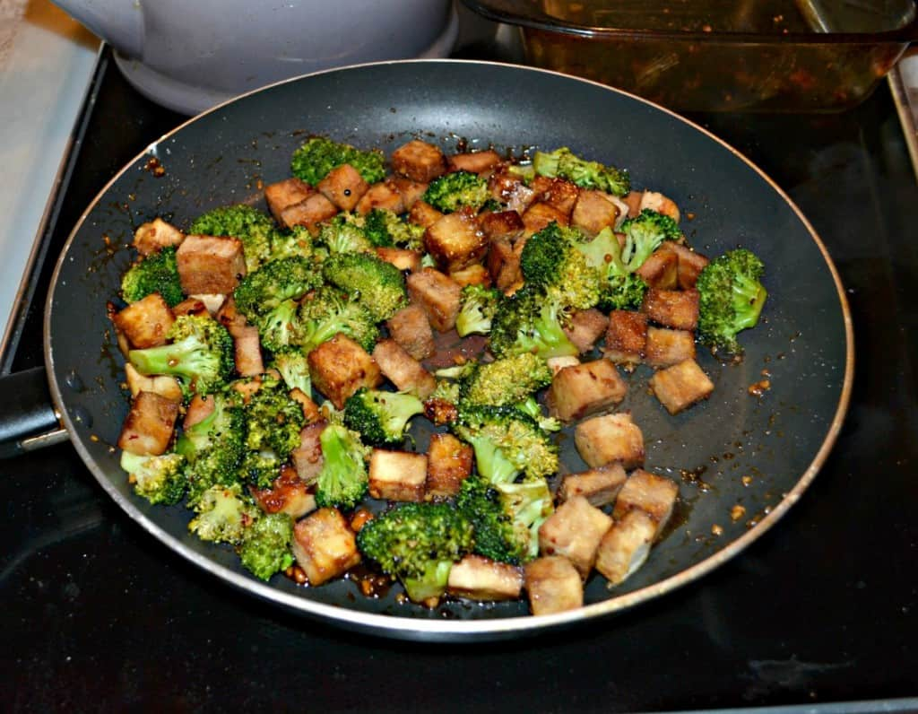 Make a pan of sticky Honey Sesame Tofu and Broccoli for dinner!