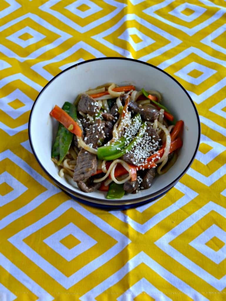 Looking for a quick and tasty weeknight meal? Try this Beef and Garden Vegetable Stir Fry with Noodles!