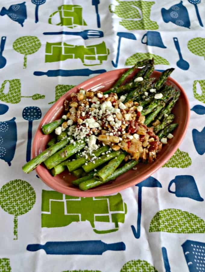 Grilled Asparagus with Greek Marinated Vegetables is a delicious vegetable side dish