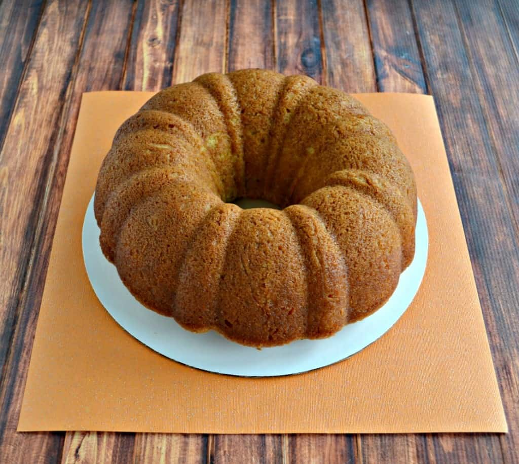 This cake looks innocent now but with a few toppings it becomes an amazing Kentucky Caramel Bourbon Butter Bundt Cake!