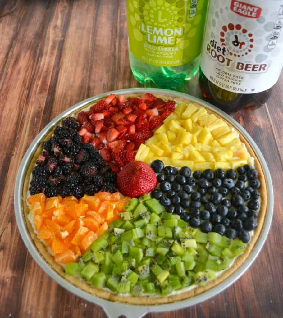 Beach Ball Fruit Pizza and drinks are all you need for a pool party!