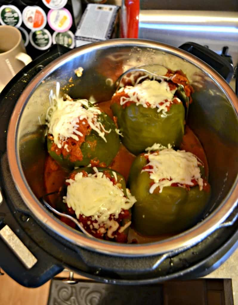There's no need to cook the ground beef before making Stuffed Peppers in the Instant Pot!
