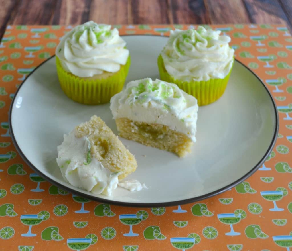 Lime Cupcakes topped off with lime buttercream and filled with lime curd.