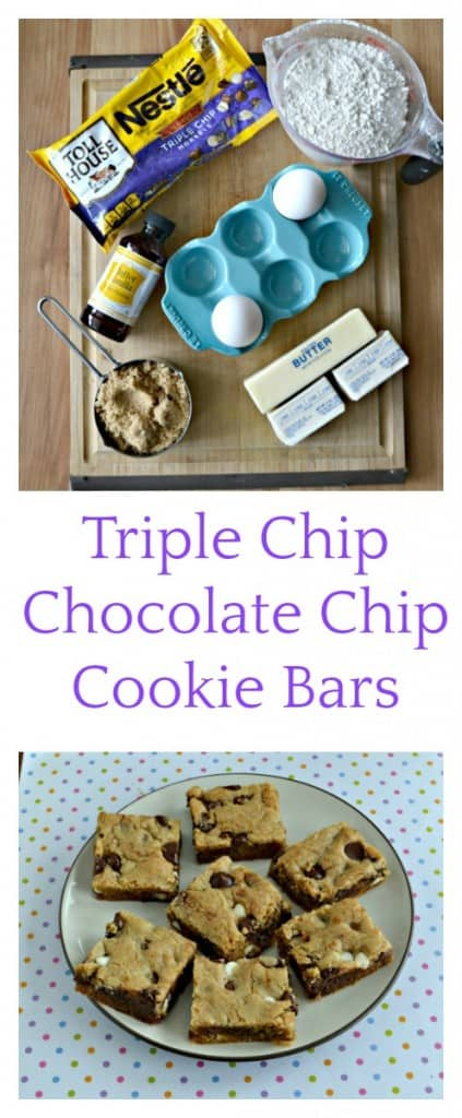 Everything you need to make a Triple Chip Chocolate Chip Cookie Bar!