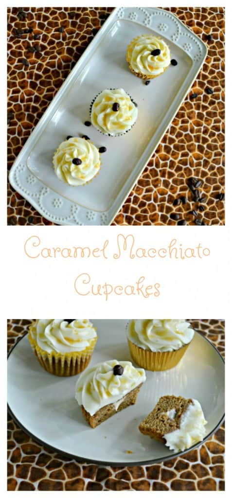 Grab a cup of coffee and enjoy these Caramel Macchiato Cupcakes!